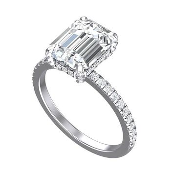 Cubic Zirconia Engagement Ring- The Sparkela (2.0 Carat Radiant Cut with Semi-Eternity Band)