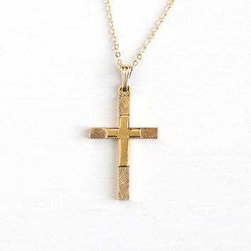 Vintage 12k Rosy Yellow Gold Filled Cross Pendant Necklace - Retro 1960s Religious Faith Brushed Finish Charm on 14K GF Chain Jewelry
