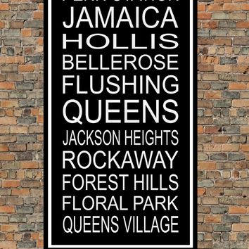 New York City Subway Sign Print - Jamaica, Flushing, Queens, Rockaway, Penn Station, Forest Hills