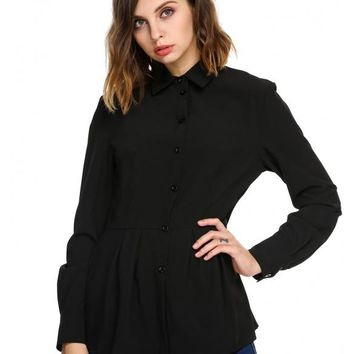 Black Long Sleeve Slim Pleated Hem Tunic Solid Button Down Shirt