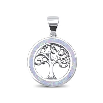 Sterling Silver Circle White Created Opal and Tree Of Life Pendant