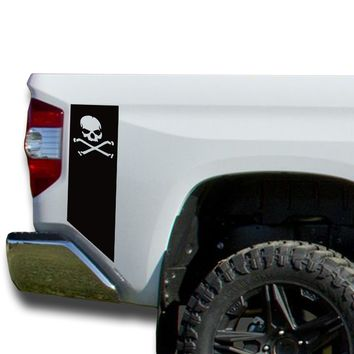 Skull & Bones Bedside Decals stripes Vinyl Sticker: fits 2014-2018 Toyota Tundra