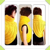 Katniss Inspired Hand Crocheted Cowl. Yellow Crochet Cowl. FREE US shipping