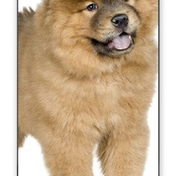 Happy Chow Chow Puppy Dog Animal Iphone 4 Quality TPU Soft Rubber Case for Iphone 4 - AT&T Sprint Verizon - White Case