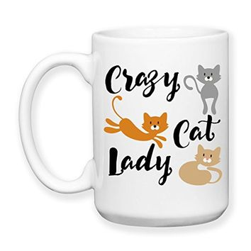 Coffee Mug, 15 oz, by Groovy Giftables - Crazy Cat Lady 001