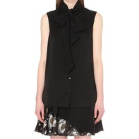 ALEXANDER MCQUEEN - Bow-detail satin shirt | Selfridges.com