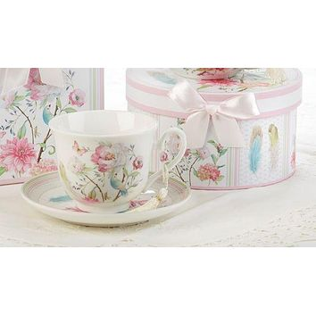 Gift Boxed Porcelain Tea Cup (Teacup) & Saucer - Feather and Floral