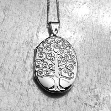 Tree of Life Locket, Tree of Life, Tree of Knowledge, Sterling Silver Pendant, Gift Necklace