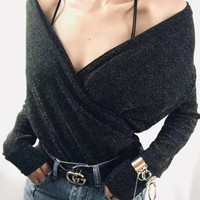 Silver Bright Wire Deep V-neck Going out Blouse