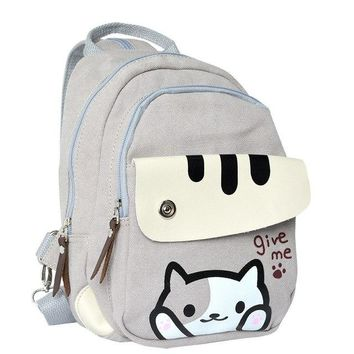 University College Backpack Cute Japanese Game Neko Atsume Cat Backyard Printing  Women School Bags For Teenager Girls  Style Casual AT_63_4
