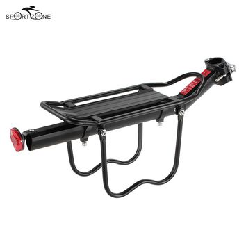 Lixada Adjustable Bicycle Cargo Carrier Rack Alloy Bike Rear Seat Post Mount Cycling Cargo Pannier Shelf with Reflector Lamp