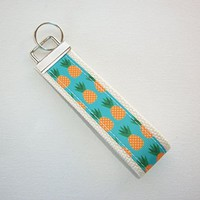 Key FOB / Key Chain / Wristlet - pineapples on natural - teachers gift coworker bridesmaids