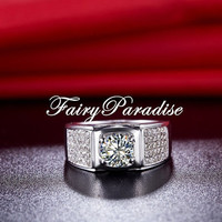 Mens 1 Ct Center Lab Diamond 5 Rows Pave Set Ring Wedding bands with gift box - made to order- gift for guys/ dad/ fathers day