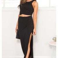 Cross Me Off Maxi Dress in Black