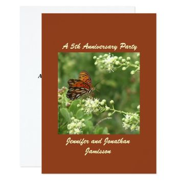5th Anniversary Party Invitation Butterfly