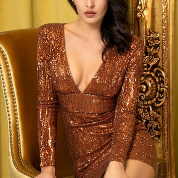Change My Ways Bronze Sequin Long Sleeve Plunge V Neck Cut Out Back Bodycon Mini Dress