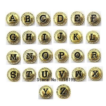2017 Fashion Initial A-R Alphabet Letter Snap Button Gold Tone Snap Button fits Snaps Snap Bracelet Jewelry