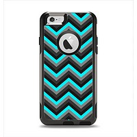The Turquoise-Black-Gray Chevron Pattern Apple iPhone 6 Otterbox Commuter Case Skin Set