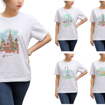 Women Cities's drawing-3 Print Round Neck Short Sleeves T- Shirt WTS_17
