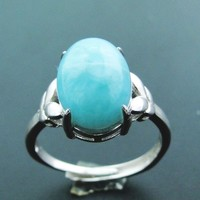 Natural Real AAA Blue Larimar Gemstone Woman Ring, Solid 925 Sterling Silver Oval Cut 12X9.5MM Stone Gems Ring for Girls