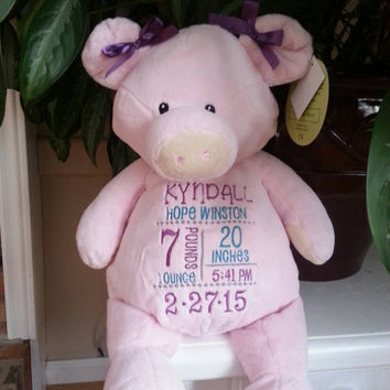 Embroidered Pig- Birth announcement gift - Embroider buddy - EB - stuffed pig- pig stuffed animal
