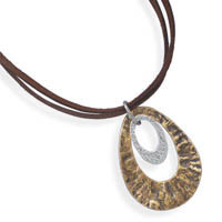 17in Double Strand Suede Necklace with Two Tone Pendant