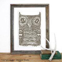 Native American Owl Totem Pole Print 12.5 x 19 in Pick your color