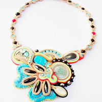 Soutache jewelry. Cord necklace. Boho jewelry. Colorful beaded necklace. Handmade statement soutache. Flashy jewelry. Unique gift for her.