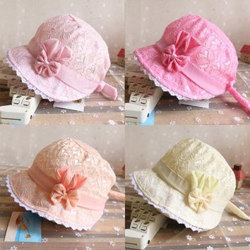 Baby Toddler Infant Girl Outdoor Cap Hollow Out Lace Bowknot Adjustable 2018 New Summer Fashion Hats