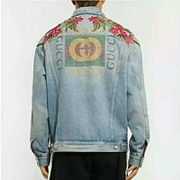 Gucci Fashion Casual Embroidery Loose Denim Cardigan Jacket Coat