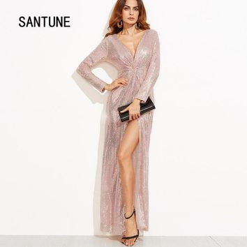Santune Sexy Gold Sequined Long Sleeve V Neck Pencil Maxi Dress