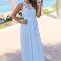 Light Blue Crochet Maxi Dress with Open Back