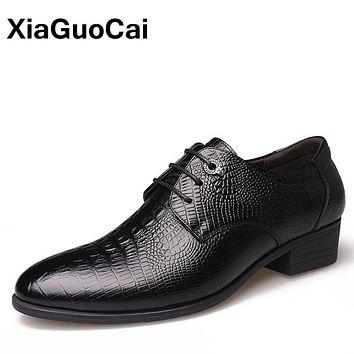 XiaGuoCai Luxury Genuine Leather Men Oxford Shoes British Business Lace Up Crocodile Gentlemen Formal Dress Wedding Footwear
