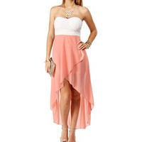 WhitePeach Strapless Hi Low Dress