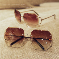 SARA Quality the gradient Cutting rimless sunglasses woman sun glasses Unique frames A530