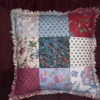 Handmade DECORATIVE PILLOW QUILTED and Sewn in Rag Style, Home Decor, Toss Pillow, Throw Pillow