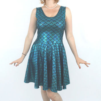 Mermaid Skater Dress (sparkling metallic fish scale print) - Multiple colors - Made to Order
