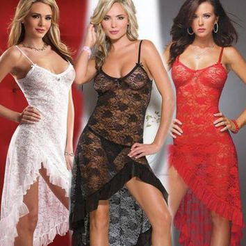 PEAPIX3 On Sale Cute Hot Deal Sexy Transparent Lace Prom Dress Set Exotic Lingerie [11407010511]