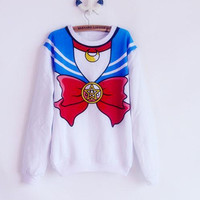 Hoodies New 2016 Sailor Moon shirt Harajuku kawaii cute fake imitation top role-playing sailor costume sweatshirt