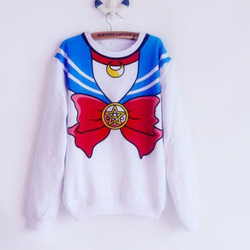 The new 2016 Sailor Moon shirt Harajuku kawaii cute fake imitation top role-playing sailor costume free shipping
