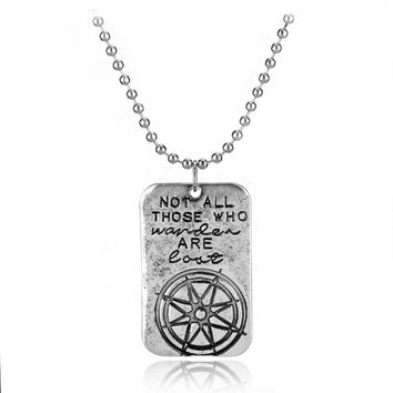 Not All Who Wander Are Lost Wanderlust Traveler Necklace Compass Men Women Inspirational Charm Necklaces Pendants Fashion Gift