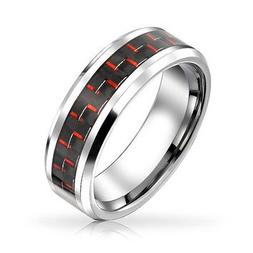 Red Black Carbon Fiber Inlay Wedding Band Tungsten Ring For Men 8mm