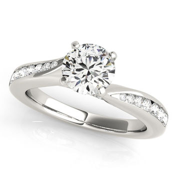 Petite Moissanite And Diamond Forever Brilliant Engagement Ring 0.85 Ctw.