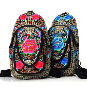 Vintage Embroidery Women Boho Bag Hmong National Canvas Embroidery Backpack Embroidered Single Shoulder Bag Chest Travel Bag