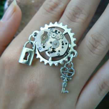 steampunk ring SALE watch movement  gears watch parts lock and key steampunk goth rocker hipster victorian boho unisex style