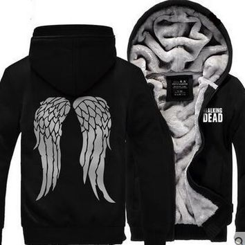 2017 New Hot New The Walking Dead Hoodie Zombie Daryl Dixon Wings Winter Fleece Mens Sweatshirts Free Shipping