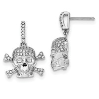 Sterling Silver Rhodium-plated & CZ Skull Dangle Post Earrings