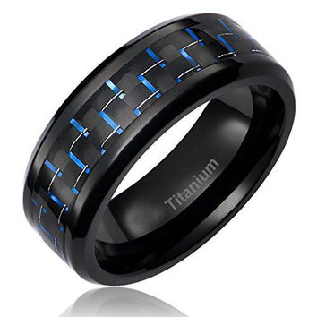 8MM Titanium Ring Wedding Band Black Plated with Black and Blue Carbon Fiber Inlay | FREE ENGRAVING
