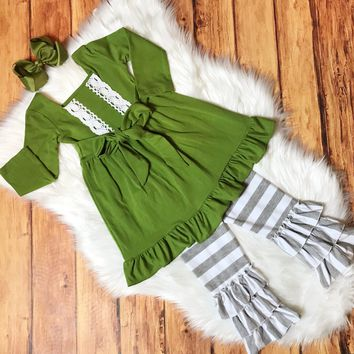RTS Olive Lace Tunic with Gray Stripe Triple Ruffle Leggings
