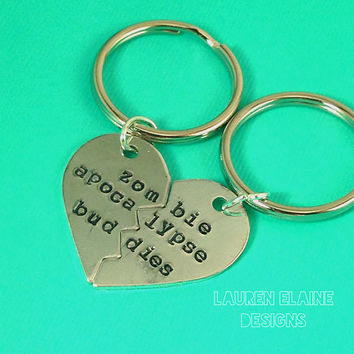 Zombie Apocalypse Buddies- Hand Stamped Heart Keychain Set- In Aluminum, Brass, and Copper